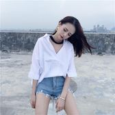襯衫 漏鎖骨襯衫女 心機白色V領寬鬆韓版掛脖半袖蝙蝠袖套頭中長款上衣  蘇荷精品女裝