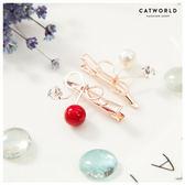 Catworld 櫻桃珍珠水鑽髮夾【17001588】‧F*特價