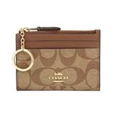 COACH PVC LOGO拉鍊證件零錢鑰匙包(卡其/棕)