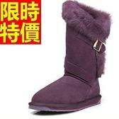 中筒雪靴-兔毛紫色防滑真牛皮女靴子5色62p14【巴黎精品】
