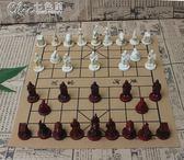 復古立體中華象棋PU皮革棋盤樹脂兵馬俑中華象棋人物棋子親子禮物「Chic七色堇」