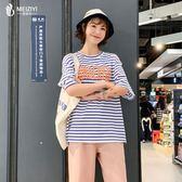 200斤大尺碼 女裝2019夏裝新款遮肚子胖mm仙女人顯瘦減齡條紋短袖T恤