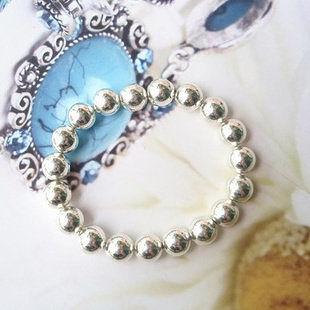 飾品 熱銷 簡約自然銀色閃亮圓珠手鏈/手鐲