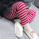 女童內搭褲 韓版基本款褲口微捲百搭條紋休閒長褲 QB allshine