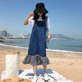 牛仔背帶裙女夏韓版寬鬆學生無袖拼接格子洋裝中長款吊帶裙子潮 米娜小铺