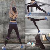 瑜伽褲女緊身高腰彈力薄款小腳彩色條紋提臀速干運動健身褲【米蘭街頭】