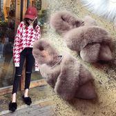 毛毛包頭半托拖鞋女新款秋季平底穆勒鞋子