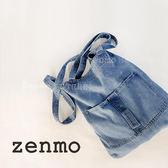 牛仔包zenmo日繫簡約復古牛仔藍帆布包街拍文藝側背包休閒女包 愛麗絲精品