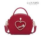側背包 一見傾心愛心水鑽麂皮絨小圓包-La Poupee樂芙比質感包飾 (預購)