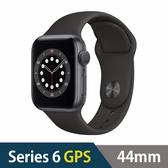 Apple Watch S6 GPS,44mm 太空灰色鋁金屬錶殼黑色運動型錶帶