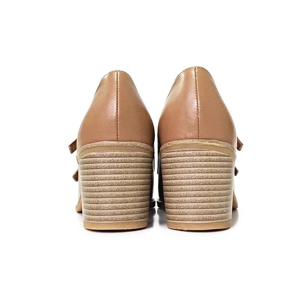 MICHELLE PARK 歐美 ‧ 牛皮雙扣高跟孟克鞋〈棕〉