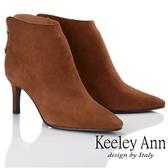 ★2018秋冬★Keeley Ann簡約百搭~百搭素面羊反絨皮尖頭中跟短靴(棕色) -Ann系列
