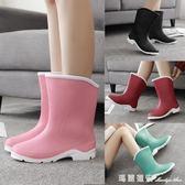 時尚中筒雨靴短筒女水靴膠鞋套鞋防滑水鞋成人雨鞋女 全網最低價最後兩天igo