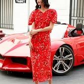 洋裝-短袖露背紅色碎花長款女連身裙73pu112[巴黎精品]