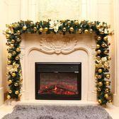 勁野 圣誕藤條2.7米豪華加密擺件帶燈圣誕樹節裝飾品金紅花環套餐