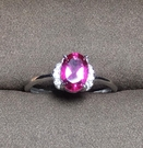 天然粉托帕純銀戒指 隨機發