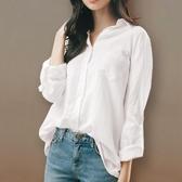棉麻白色襯衫女2019春秋新款寬鬆韓版長袖加絨襯衣上衣設計感小眾 米娜小鋪