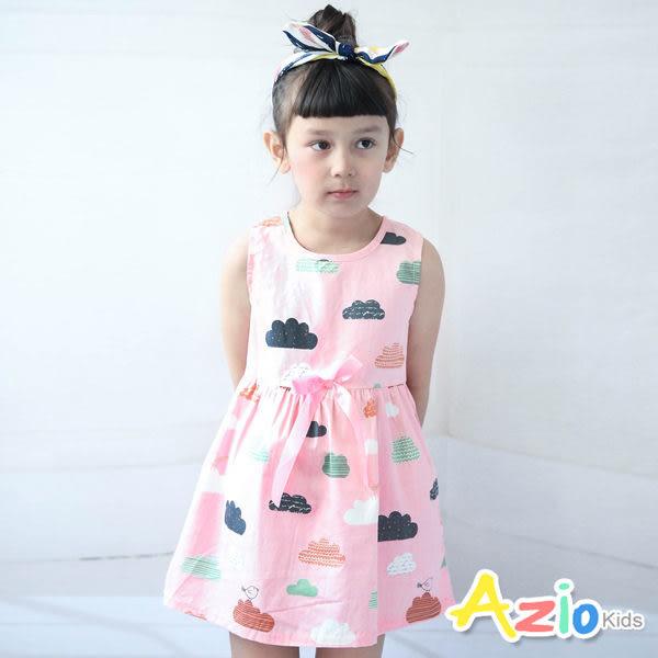 Azio 女童 洋裝 彩色雲朵立體蝴蝶結無袖洋裝(粉)