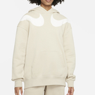 Nike SPORTSWEAR SWOOSH 女裝 連帽 長袖 休閒 落肩 雙勾 刷毛 米色【運動世界】DD5581-206