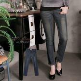 牛仔褲--完美時尚曲線口袋儀表車線銅釦刷色低腰小直筒牛仔褲(藍XL-7L)-N93眼圈熊中大尺碼
