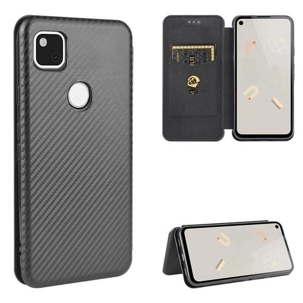時尚碳纖維 翻蓋皮套 谷歌 Google Pixel 4A 手機殼 掀蓋 保護殼 Pixel4A 磁吸 支架插卡 手機套