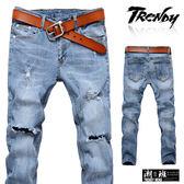『潮段班』【SD033211】M-XL淺色刷破刷白膝蓋破洞牛仔長褲 休閒長褲 牛仔褲