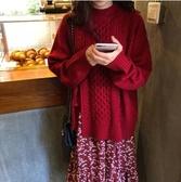 秋裝韓版新款麻花針織衫毛衣外套潮 v領碎花連身裙網紅兩件套裝女 新年禮物