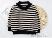 兒童毛衣 棉小班男童冬裝毛衣1-3歲韓版寶寶長袖線衫小童條紋加厚針織衫潮 歐萊爾藝術館