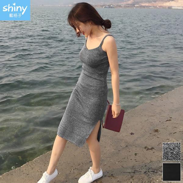 【V2964】shiny藍格子-美妙曲線.V領無袖側開叉針織連身裙