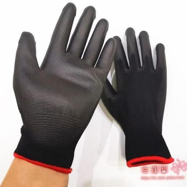 防靜電手套 優質黑色尼龍PU涂指手套涂膠浸膠涂掌電子無塵防靜電勞保手套