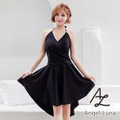 比基尼泳裝-日本品牌AngelLuna 現貨 黑色長裙三件式比基尼溫泉沙灘泳衣