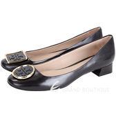TORY BURCH Twiggie 不對稱金屬邊框皮革粗跟鞋(黑色) 1710187-01