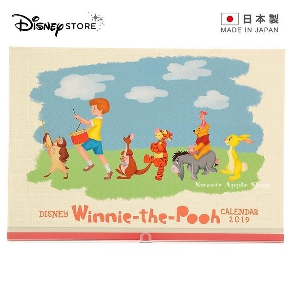 ★ 日本製 ★日本 DISNEY STORE 迪士尼商店限定 小熊維尼家族 2019 壁掛月曆