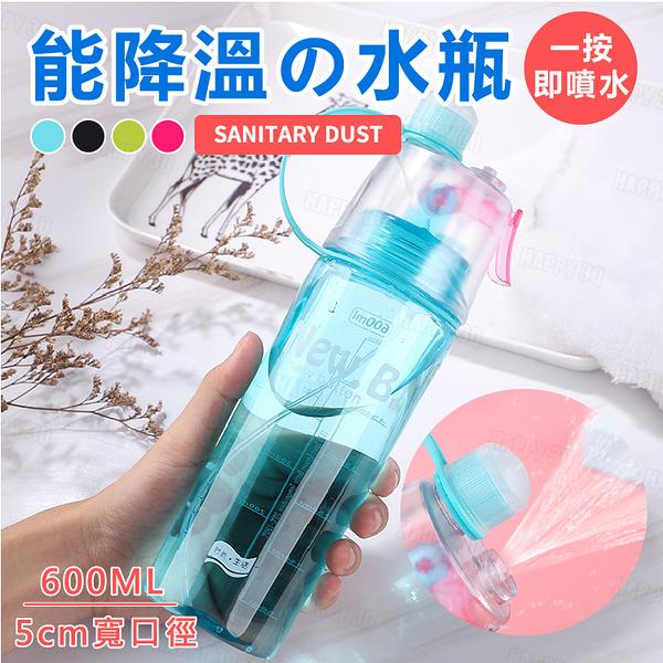 【單手開蓋/噴霧消暑】 路跑 健行 登山 運動專用創意水瓶 隨身水瓶 -灰/紅/藍【AAA6185】預購