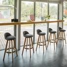 吧檯椅 實木酒吧椅旋轉高腳凳家用吧臺椅歐式吧椅前臺高腳椅時尚吧椅【快速出貨八折鉅惠】