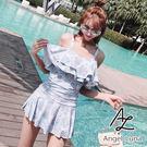 比基尼泳裝-日本品牌AngelLuna 日本直送 清新淺藍印花OnePiece一件式溫泉沙灘泳衣