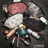 便攜化妝包隨身立體零錢包手拿包收納包夜光幾何菱格包女小號『小宅妮時尚』
