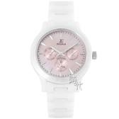 【台南 時代鐘錶 SIGMA】簡約時尚 藍寶石鏡面三眼日期腕錶 1842W-04 白/粉色 36mm 平價實惠的好選擇