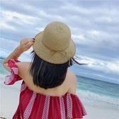 蝴蝶結草帽 防曬沙灘帽 鏤空小帽檐草編帽子【多多鞋包店】m237