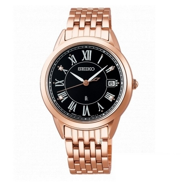 SEIKO精工 太陽能 羅馬時標 玫瑰金腕錶 真鑽 SUT398J1 (V147-0CR0B)