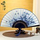 7寸中國風手工絲綢綾絹扇女式折扇工藝牡丹特色禮品扇子女扇古風