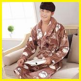 睡袍男冬季加厚加長款法蘭絨女浴袍男士浴衣珊瑚絨女士情侶睡衣