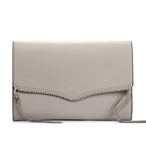 Rebecca Minkoff編織皮革雙色裝飾信封手拿包(灰色)220120-1