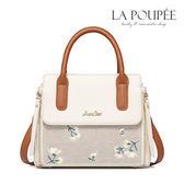 手提包 唯美格紋麻料繡花方包 -La Poupee樂芙比質感包飾 (現貨)