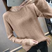 毛衣 系帶毛衣長袖套頭寬松針織衫短款打底衫外套圓領上衣