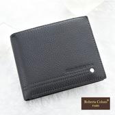 Roberta Colum鉚釘小牛皮可拆式左右翻卡夾短夾-黑色