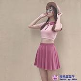 日系泳衣女甜美可愛軟妹少女學生保守半袖溫泉度假分體裙式三件式大碼泳裝品牌【櫻桃】