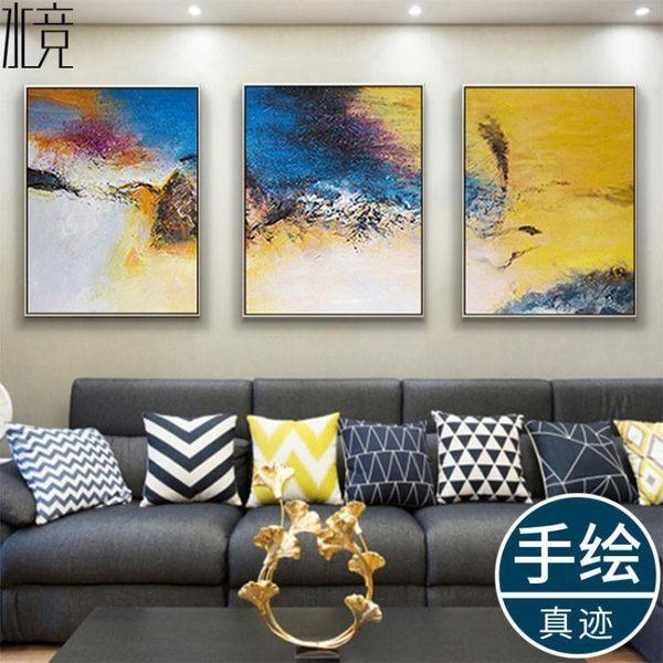 油畫客廳趙無極抽象畫純手繪裝飾畫現代藝術掛畫大氣簡約壁畫igo  晴光小語