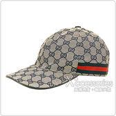 GUCCI經典雙G LOGO緹花布綠紅織帶設計魔鬼氈棒球帽(M/L/米藍)