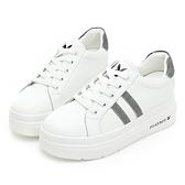 PLAYBOY經典皮革 輕量厚底小白鞋-白銀(Y6800)